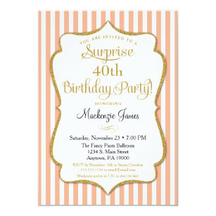 Surprise Party Birthday Invitation Peach Elegant