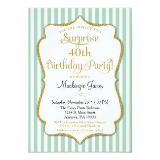 "Surprise Party Birthday Seafoam Mint Green Gold 5"" X 7"" Invitation Card"