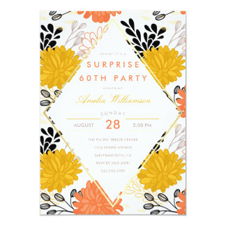 Surprise Party   Colorful Retro Chrysanthemums Card