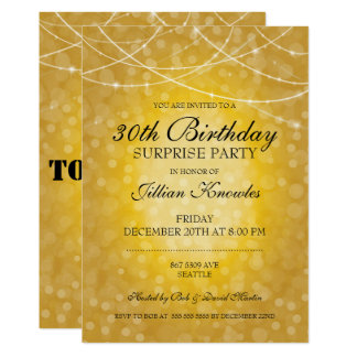 Surprise Party Gold Bokeh String Lights Glitter Card