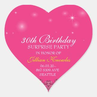 Surprise Party Hot Pink Orbs Stars Heart Sticker