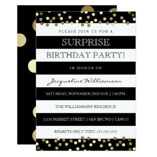 Surprise Party   Sleek Black White & Gold Card