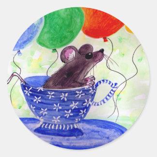 Surprise Tea Cup Mouse Round Sticker