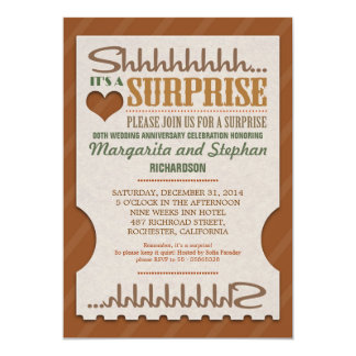 "surprise wedding anniversary beautiful invitations 5"" x 7"" invitation card"