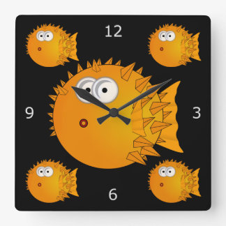 Surprised Blowfish Square Wall Clock