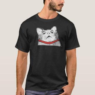 Surprised Cat Gasp Meme - Black T-Shirt