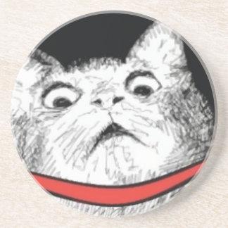 Surprised Cat Gasp Meme - Drink Premium Coaster