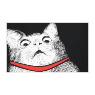 Surprised Cat Gasp Meme - Wrapped Canvas