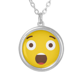 Surprised Emoji Silver Plated Necklace