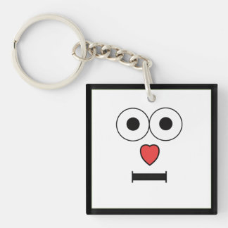 Surprised Face with Heart Nose Double-Sided Square Acrylic Keychain