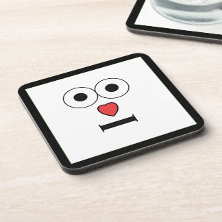 Surprised Face with Heart Nose Drink Coasters