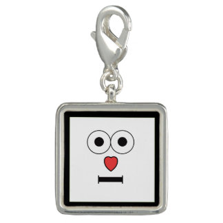 Surprised Face with Heart Nose Photo Charms
