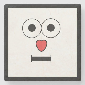 Surprised Face with Heart Nose Stone Coaster