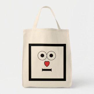 Surprised Face with Heart Nose Tote Bag