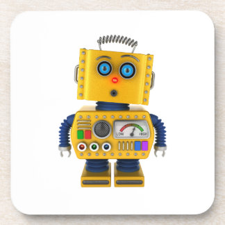 Surprised looking toy robot drink coaster
