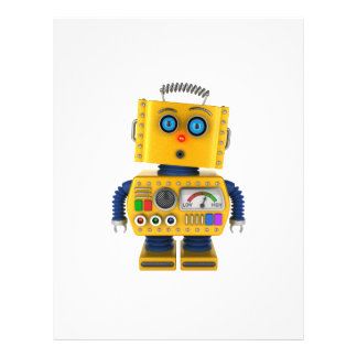 Surprised looking toy robot full colour flyer