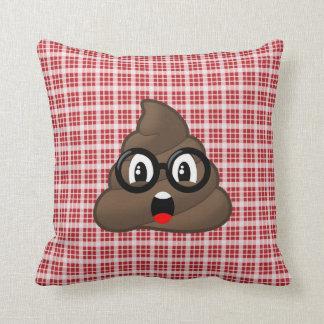 Surprised Poop Emoji (glasses) Red Plaid Pillow