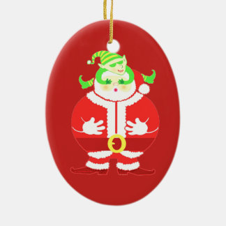 Surprised Santa oval ornament