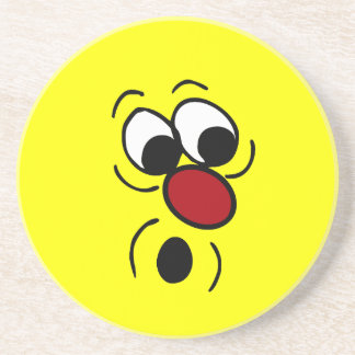 Surprised Smiley Face Grumpey Beverage Coaster