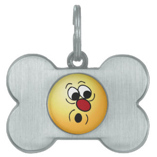 Surprised Smiley Face Grumpey Pet ID Tags