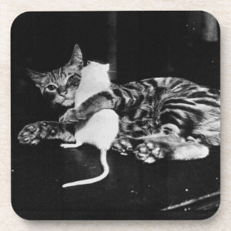 Surprising Friendship - Cat Minnie and Mike Mouse Coaster