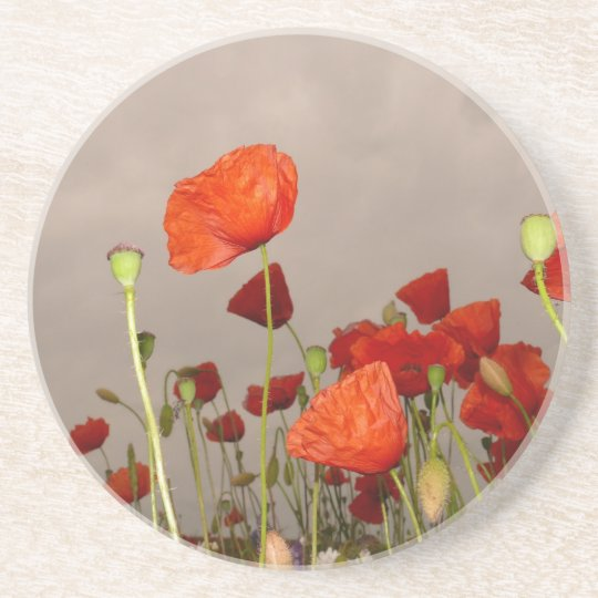 Surrea Red Poppies Coaster