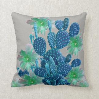 SURREAL BLUE PEAR CACTUS & FLOWERS DESERT ART THROW PILLOW