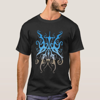 Surreal Butterfly Tribal Tattoo - blue T-Shirt