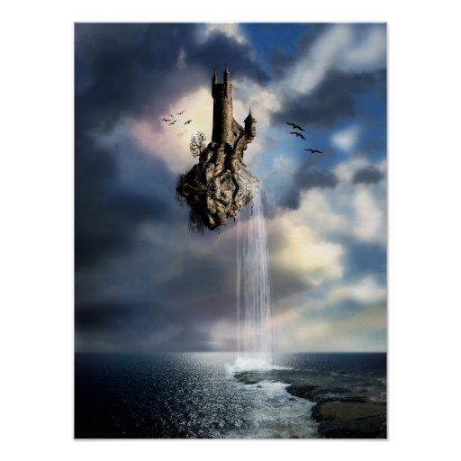 Surreal Castle In The Air Poster