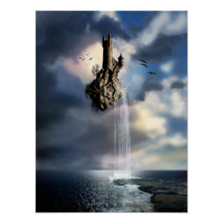 Surreal Castle Waterfall Poster