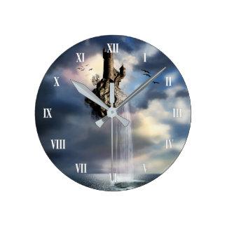 Surreal Castle Waterfall Wall Clock