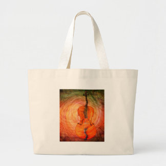 Surreal Cello With Musical Notes Large Tote Bag