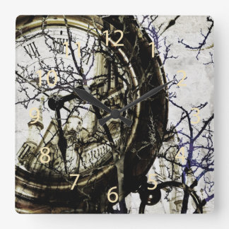 Surreal clock with watch, branches and church