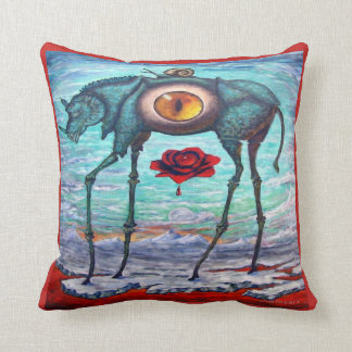 SURREAL,DALI-ESQUE BLUE RHINO PAINTING THROW PILLOW