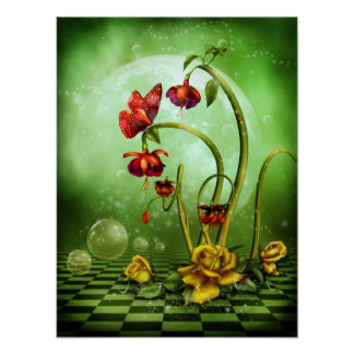 Surreal Flower Fantasy Poster
