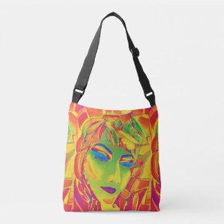 Surreal girl watercolor painting crossbody bag