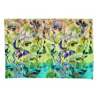 Surreal girl watercolor painting pillowcase
