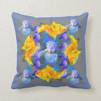 SURREAL GOLD FISH & BLUE BUTTERFLIES ARTWORK THROW PILLOW