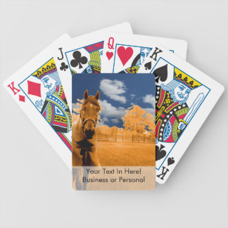 surreal horse walking fence orange blue sky poker deck