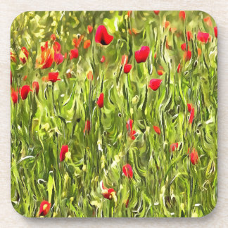 Surreal Hypnotic Poppies Coaster