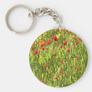Surreal Hypnotic Poppies Keychain