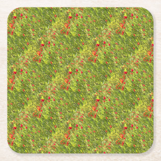 Surreal Hypnotic Poppies Square Paper Coaster