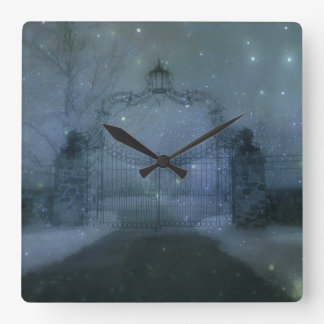 Surreal Otherworldly Gate Stars Square Wall Clock