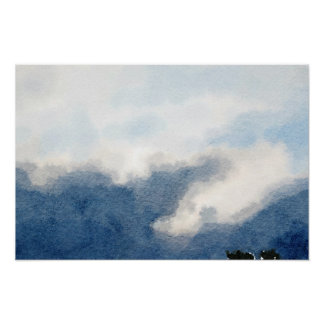 Surreal Sky and Clouds Watercolor Painting Poster