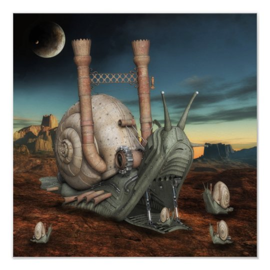 Surreal Steampunk Snail Poster