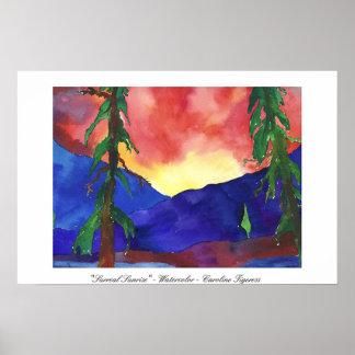 """Surreal Sunrise"" - Watercolor - Caroline Tigeress Poster"