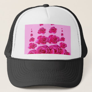 SURREAL TOWERS OF  FUCHSIA PINK ROSES TRUCKER HAT