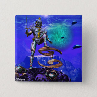 SURREAL UNDERSEA / Cancer Zodiac Birthday Sign 2 Inch Square Button