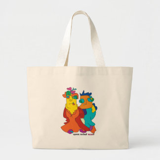 surrealist couple naive art noa large tote bag