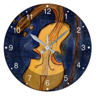 Surrealist violin large clock